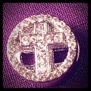 925 Silver Clear Crystal Cross European Charm